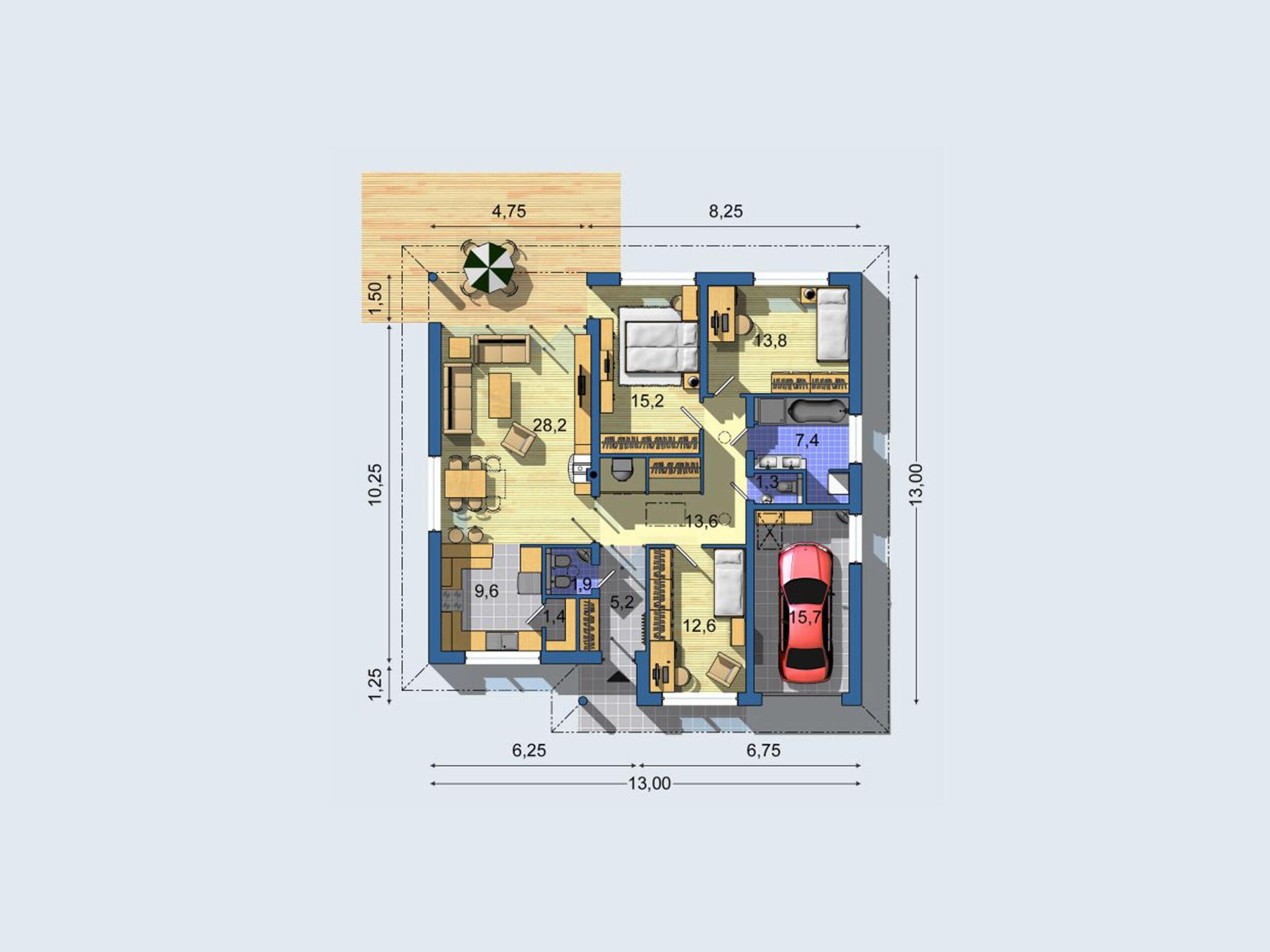 Plan bungalov 1174